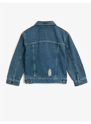 Koton Cepli Klasik Yaka Pamuklu Jean Ceket Mavi
